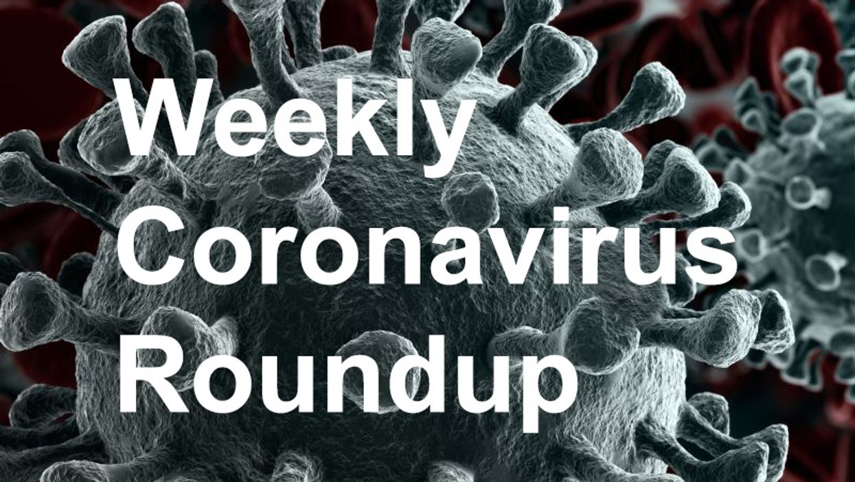gray coronavirus cell on red background with weekly coronavirus roundup text
