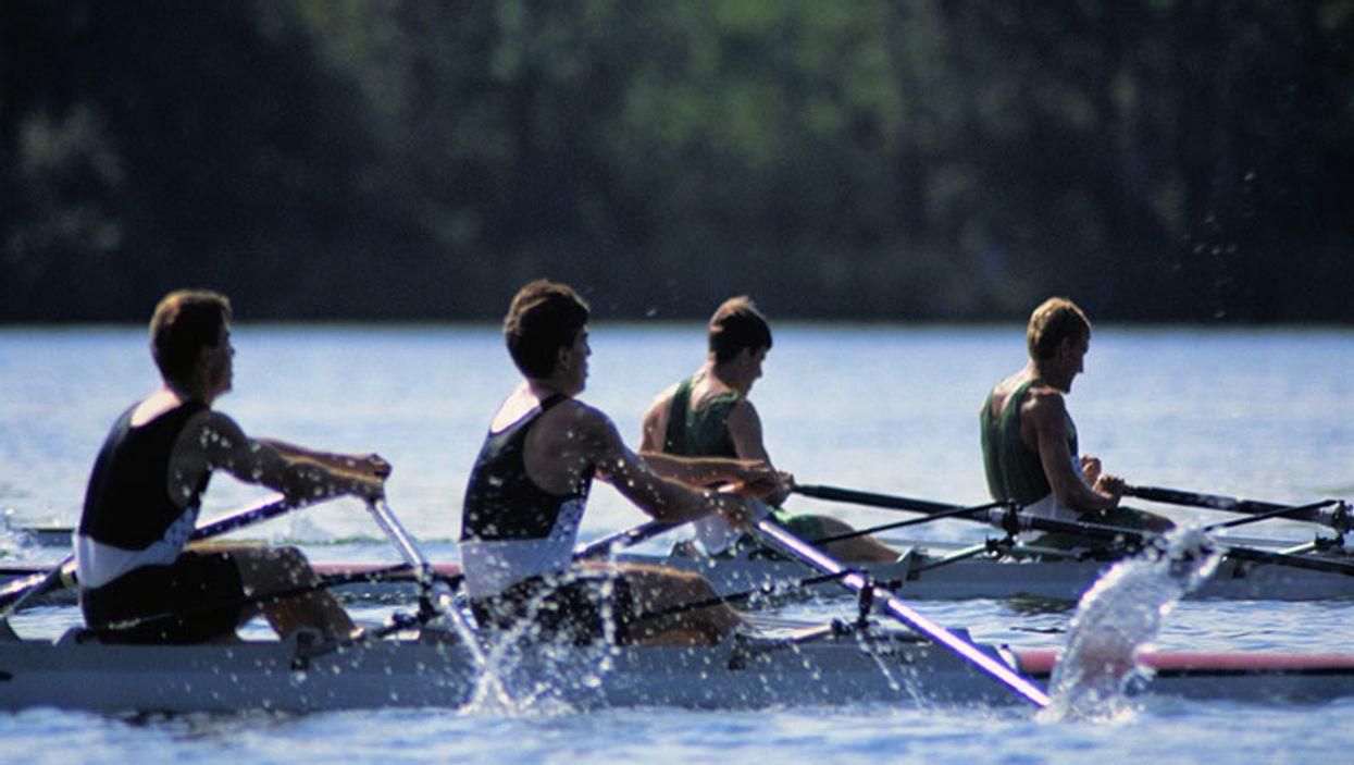 canoers rowing