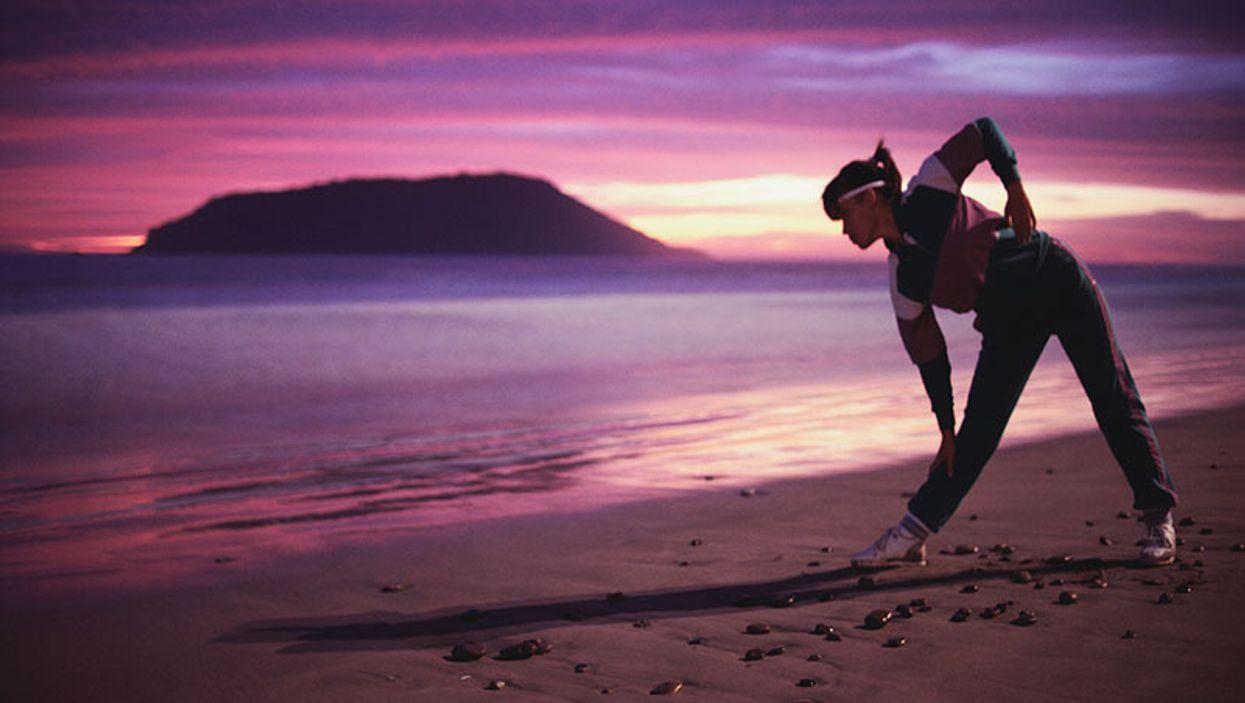 woman exercising stretching
