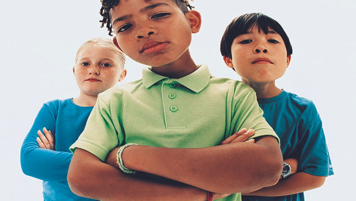group of serious kids