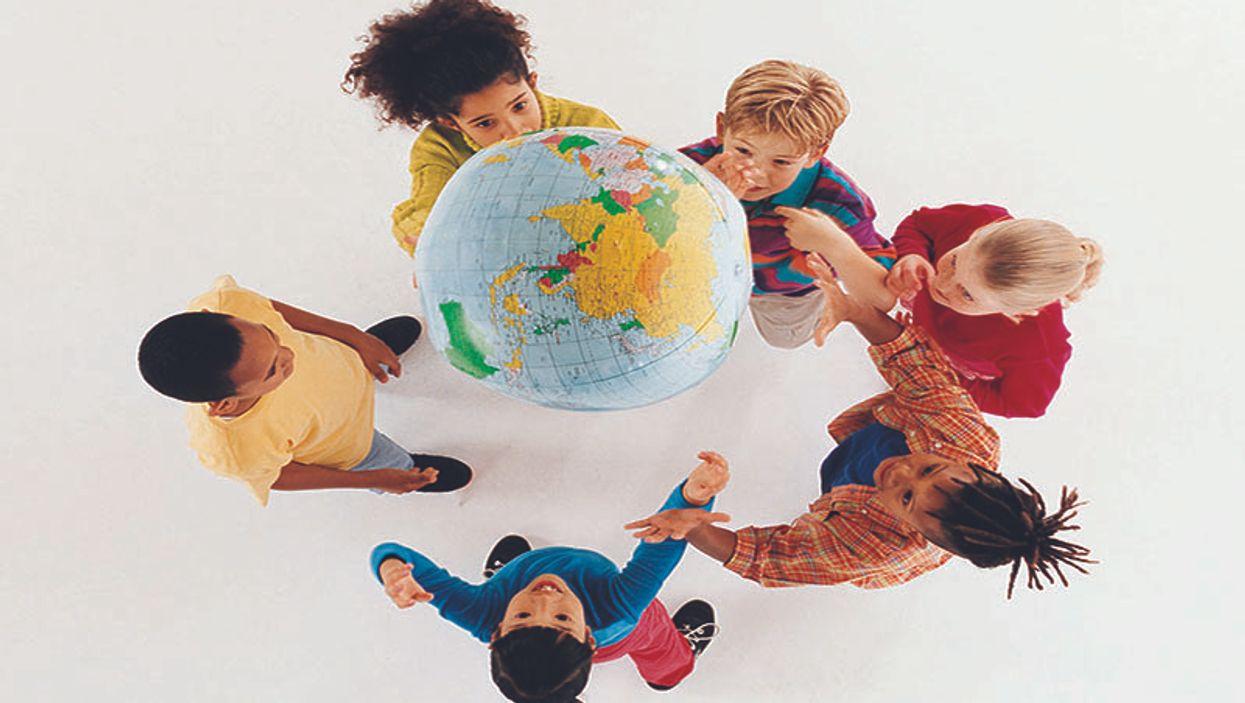 kids with a globe
