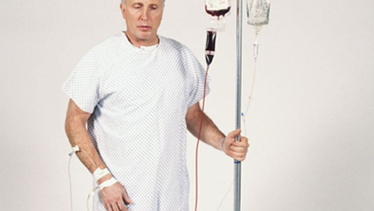 man with IV