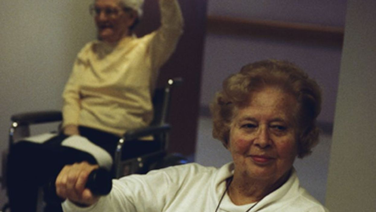 elderly women getting physical therapy