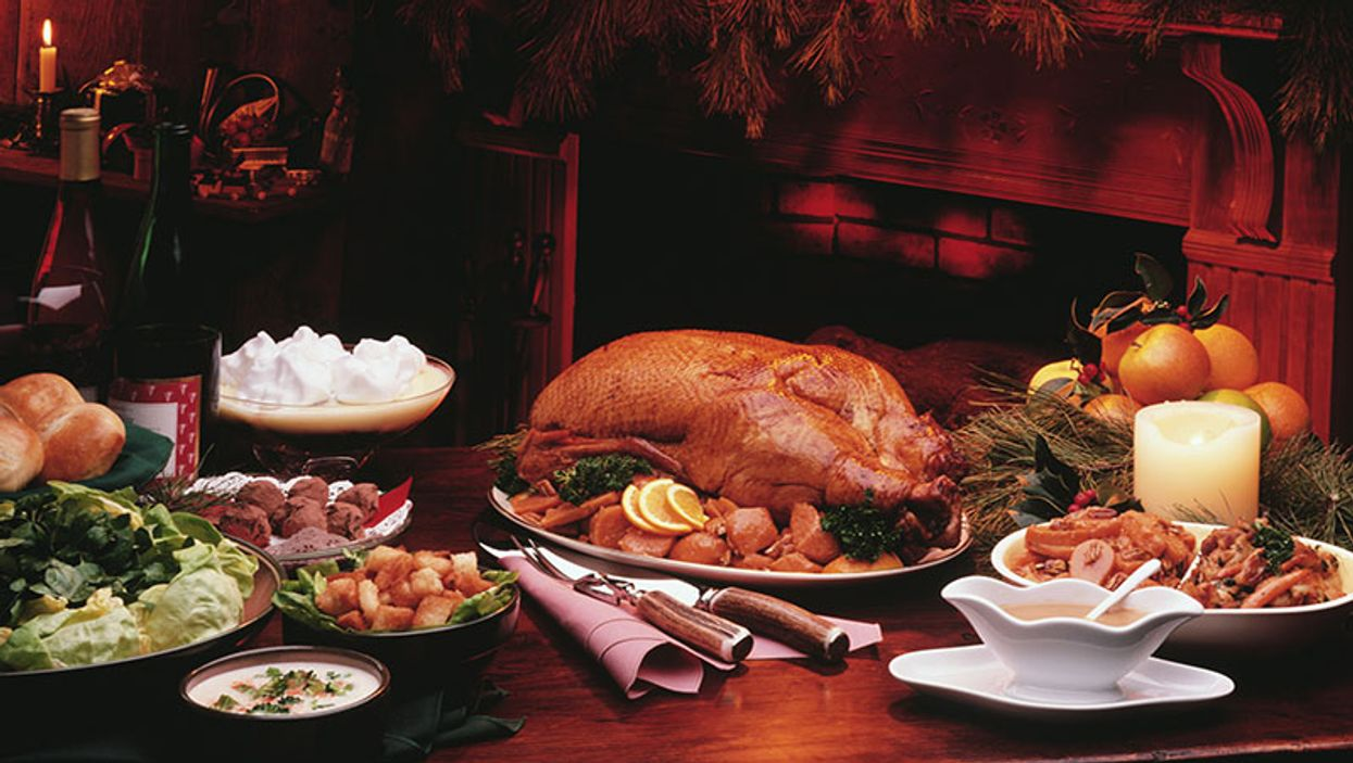 holiday table with food on it
