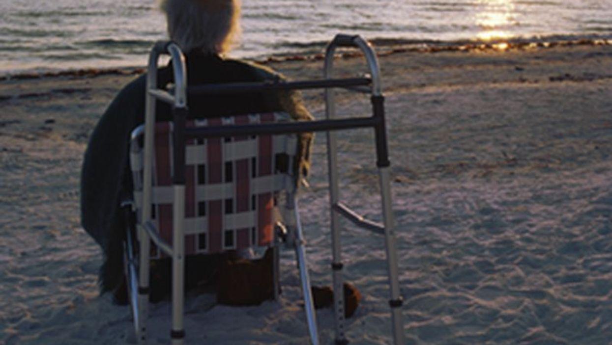 elderly man at the beach