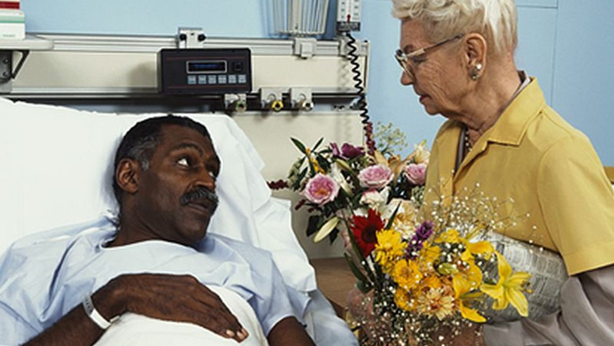 hospital patient getting flowers