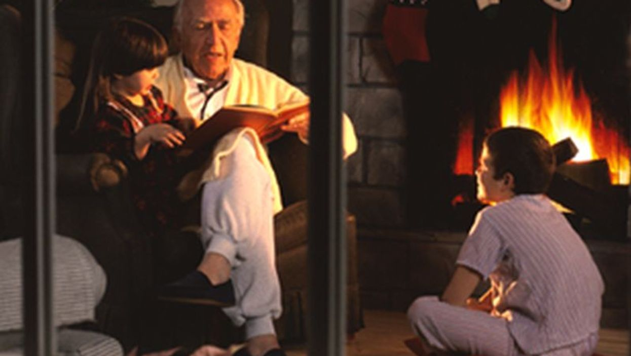 grandfather reading christmas story