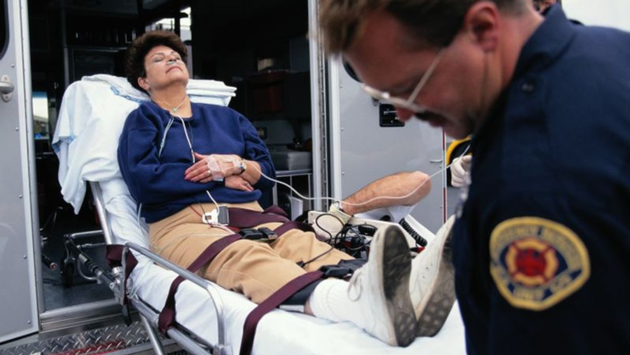 a man on a stretcher
