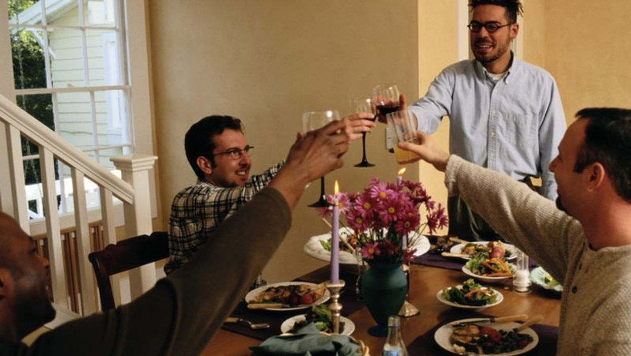 toasting at the table