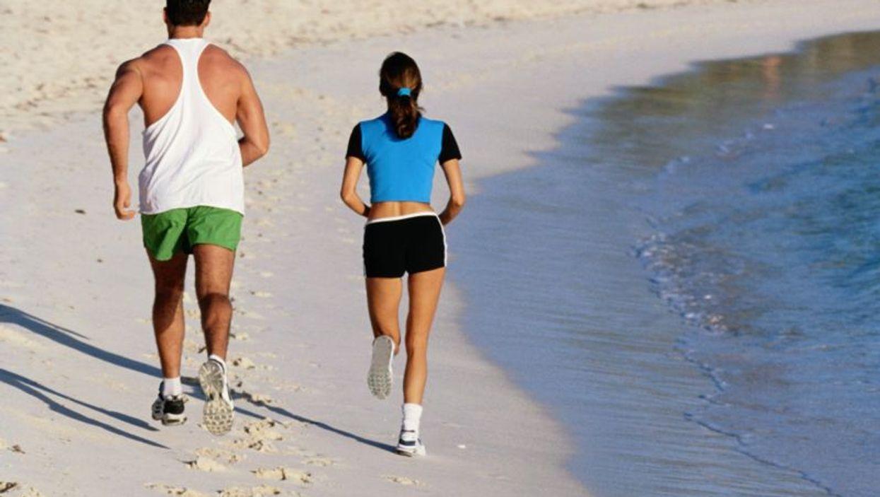 running at the seashore