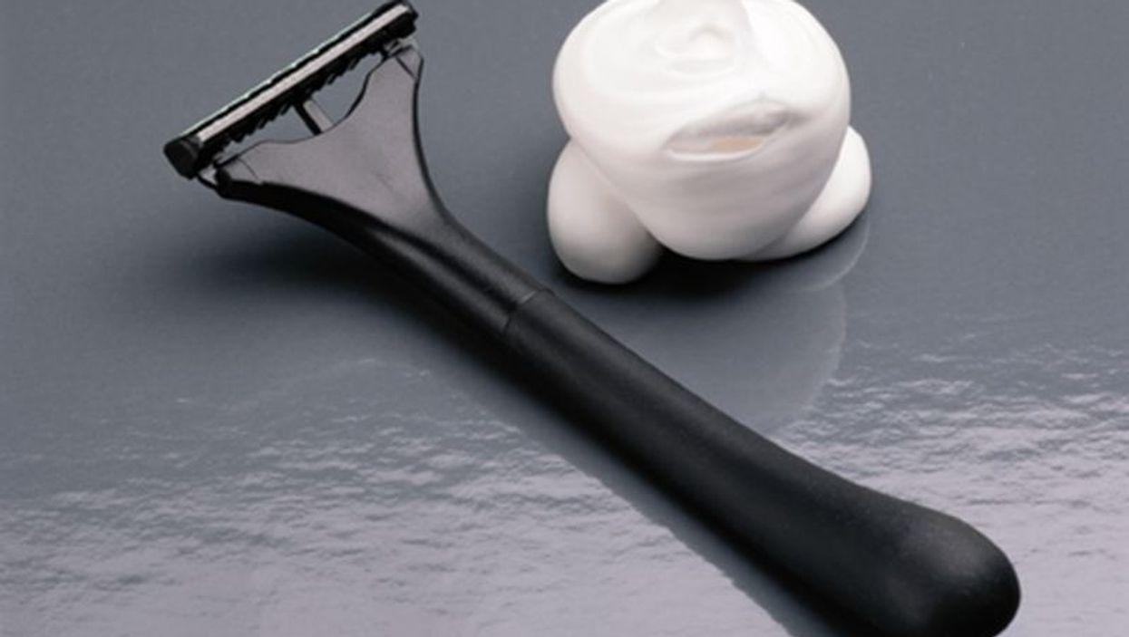 razor and shaving cream