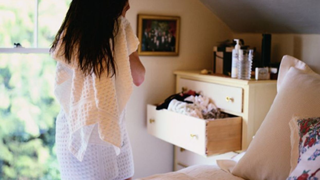 woman in a bedroom