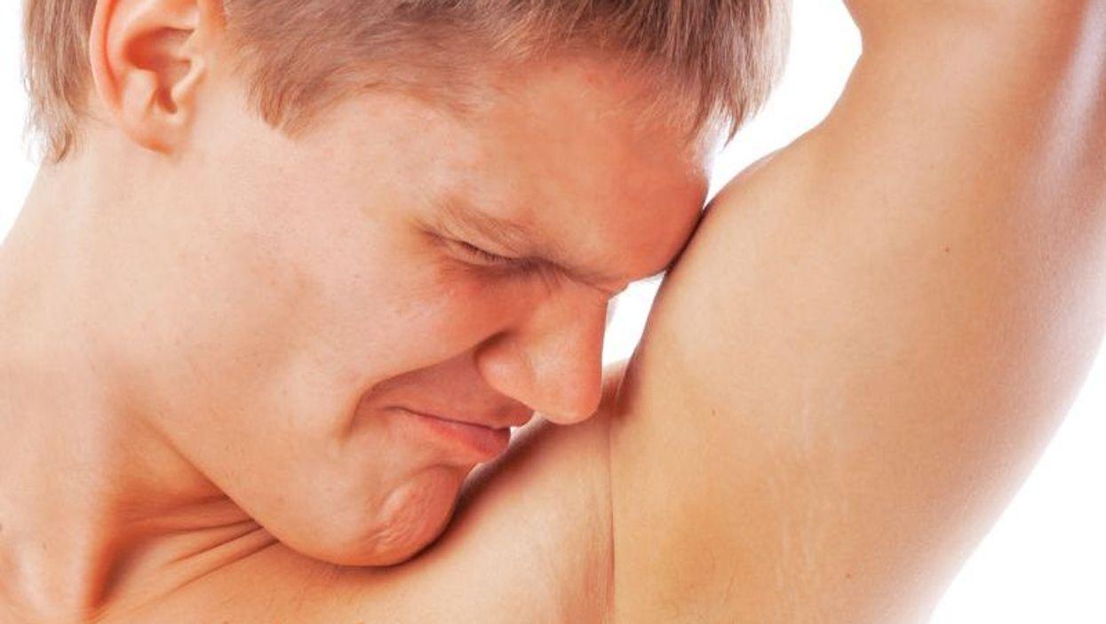 sniffing armpit