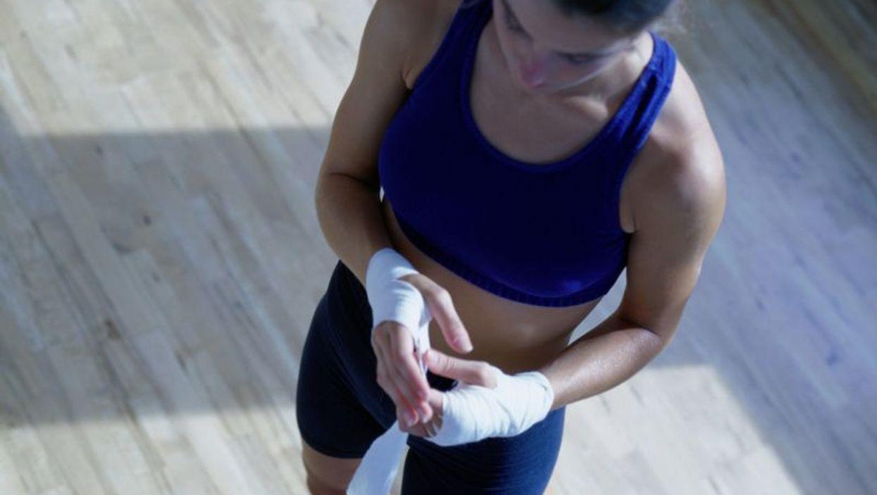 woman with bandage