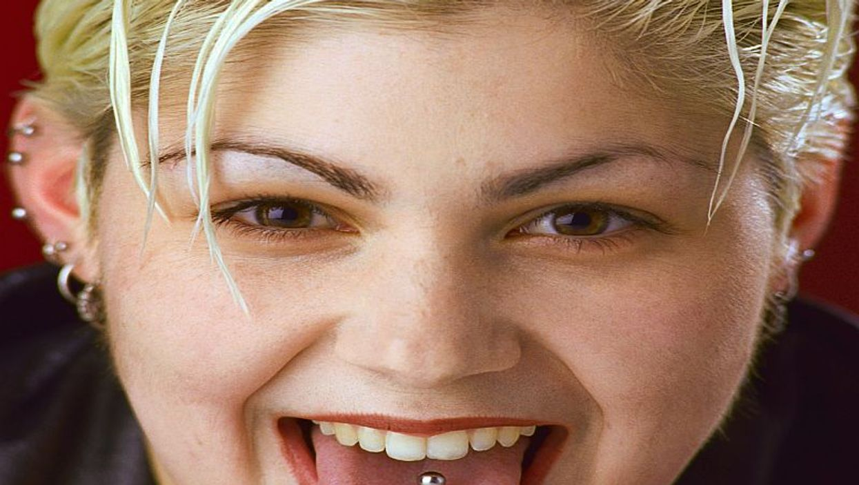 woman with pierced tongue
