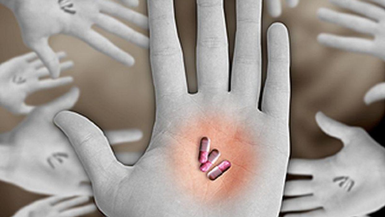 pills on a hand palm