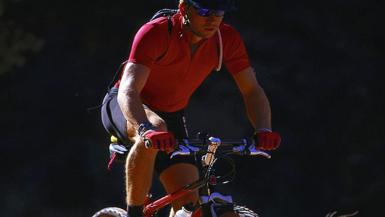 a man biking