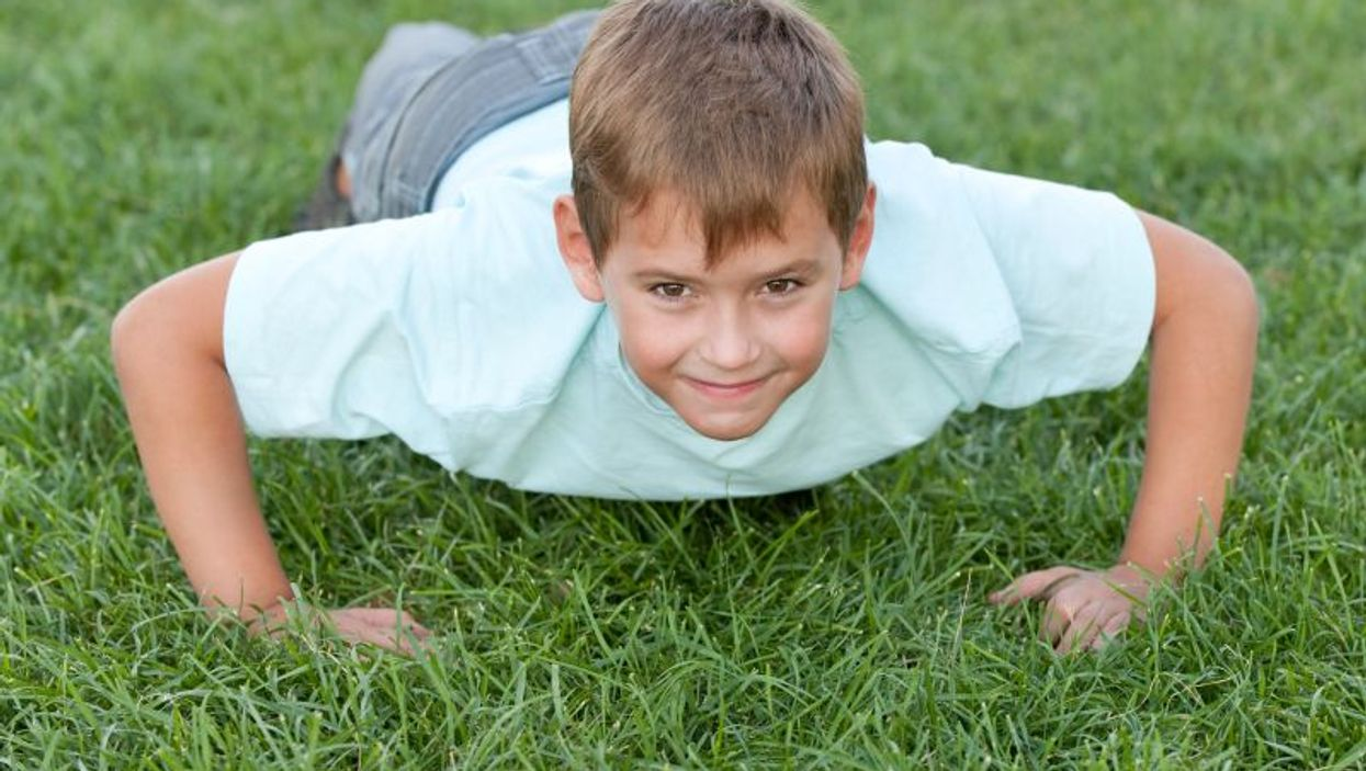 boy doing pushup
