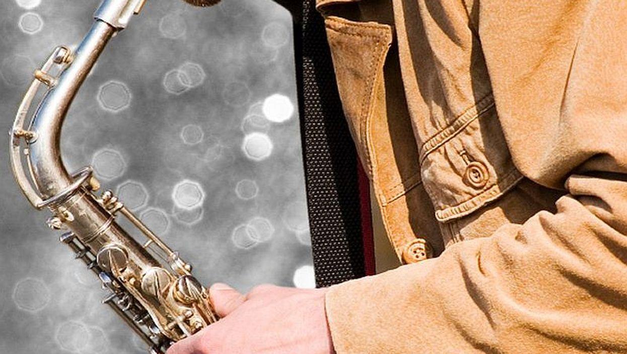 playing saxaphone
