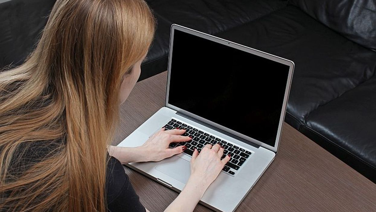 teen on laptop