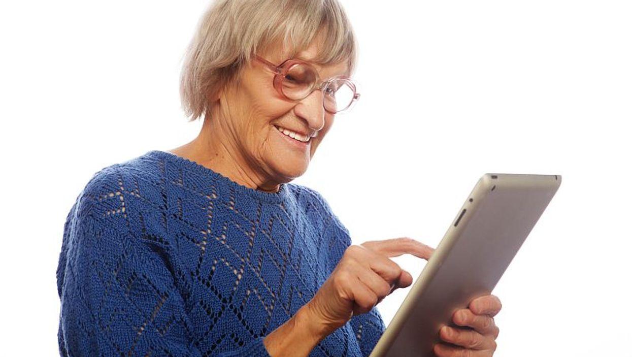 elderly woman at computer
