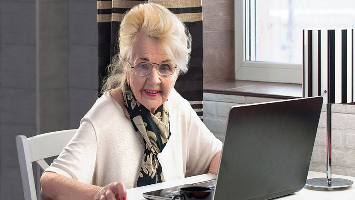 elderly woman at computer