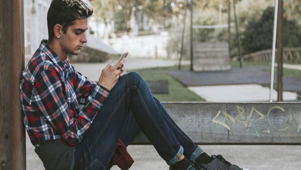 teen using phone