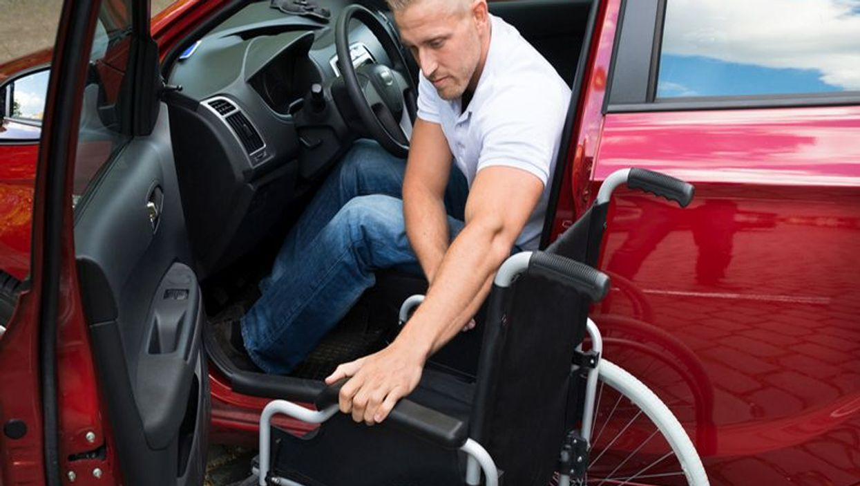 handicapped man in car
