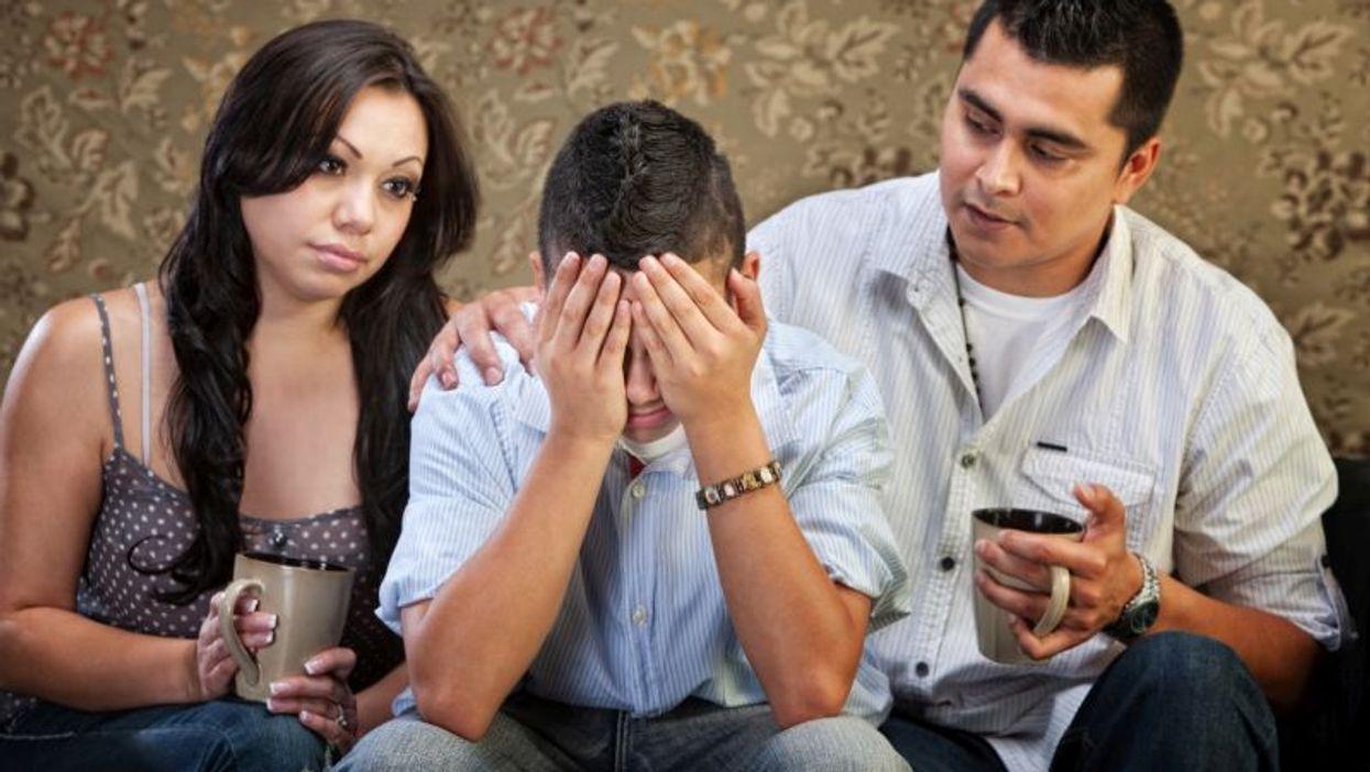 unhappy hispanic family