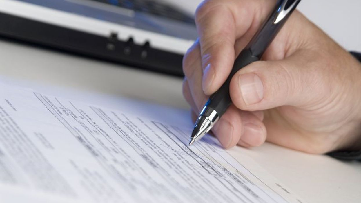 signing form