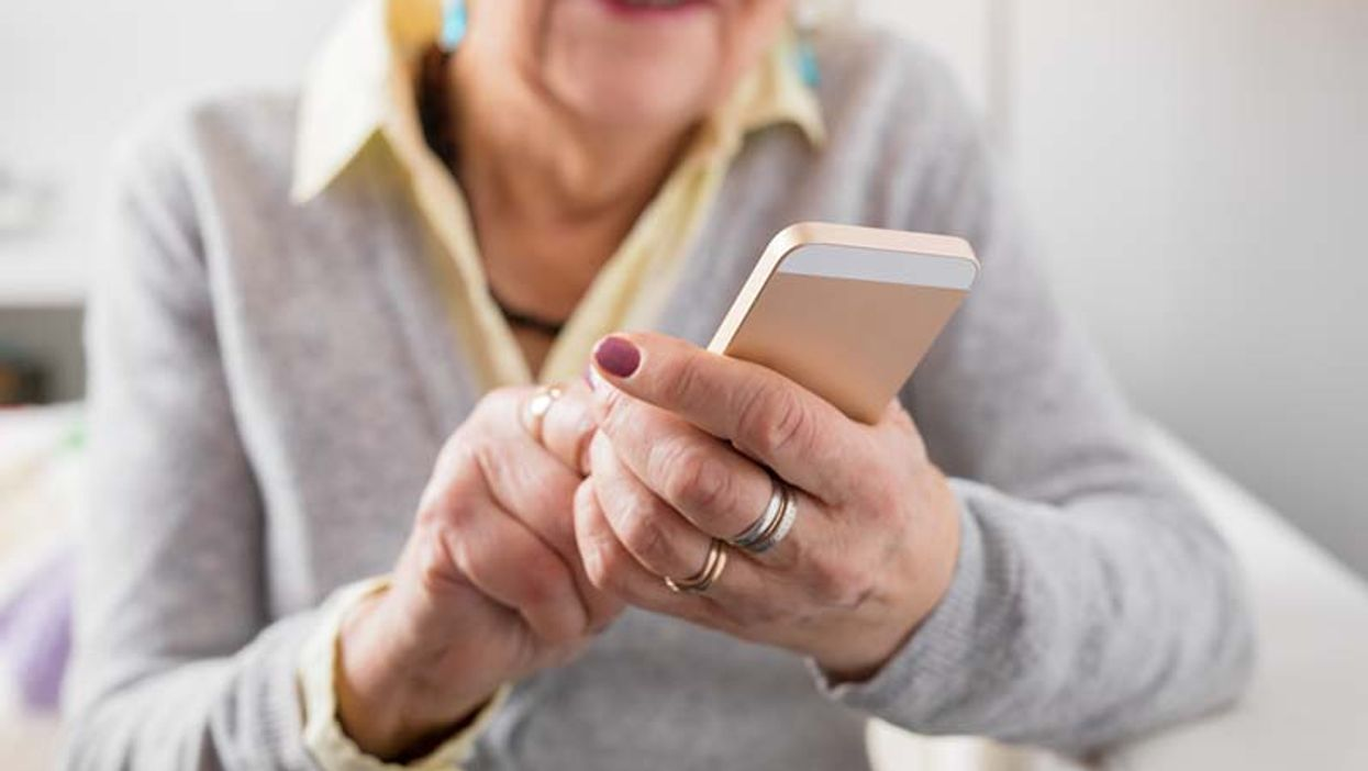 older woman using a smartphone