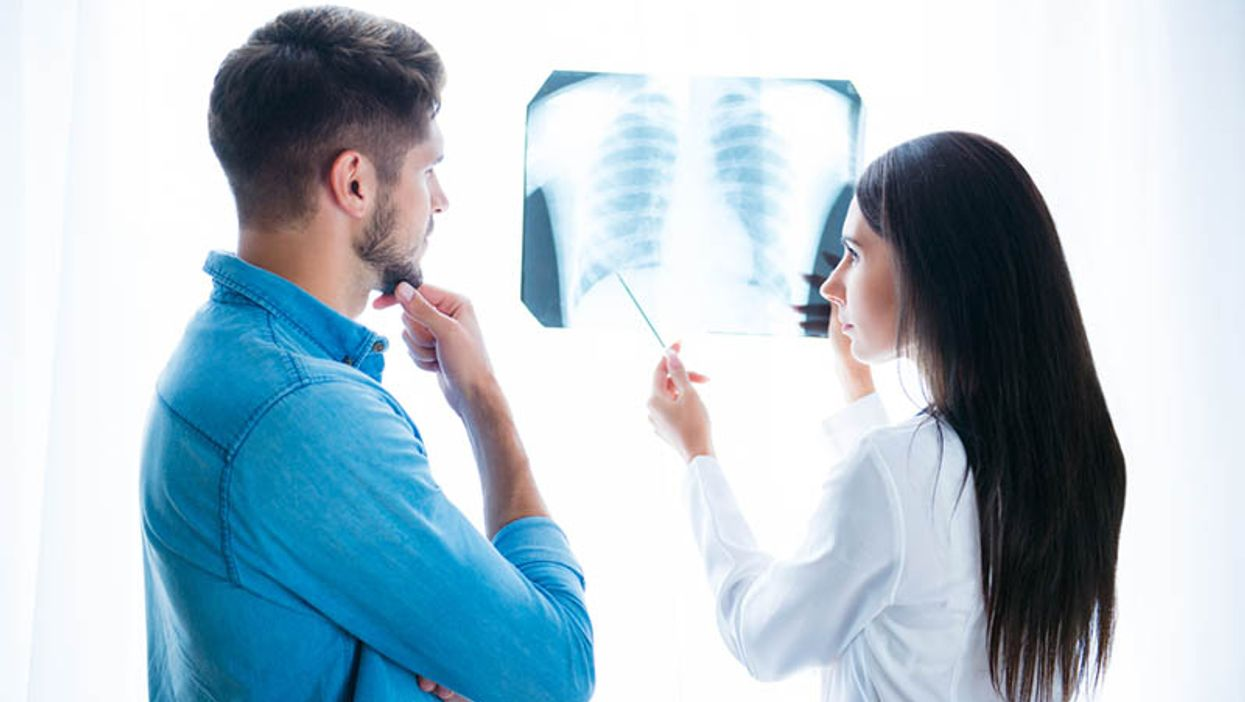 doctor and patient discussing lung xray