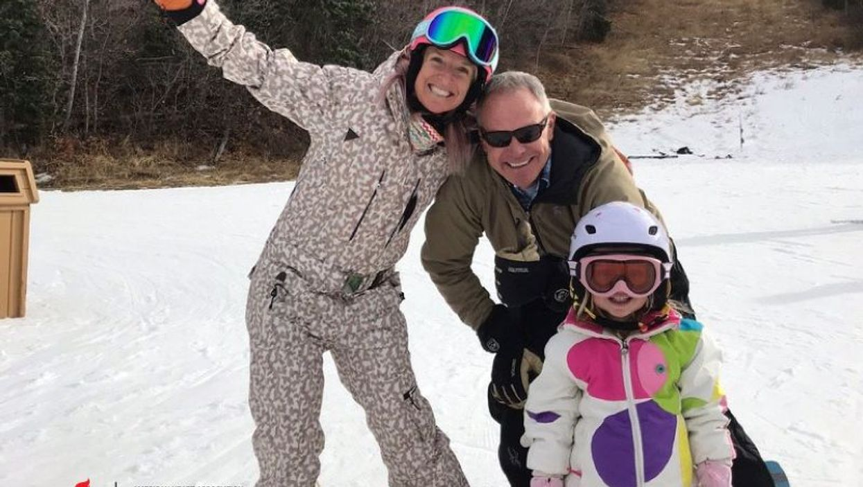 Two-time Olympic medalist  Shannon Bahrke Happe with her  husband, Matt, and daughter, Zoe.