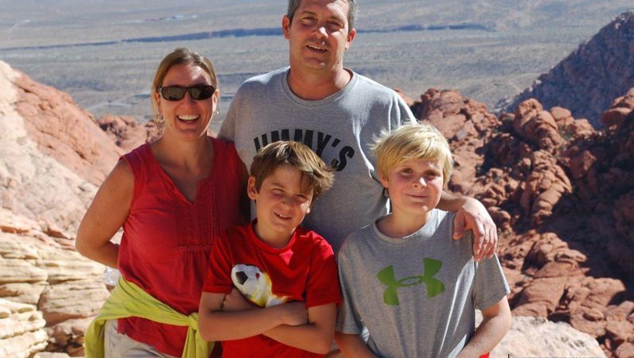 Stroke survivor Sarah Belliveau with husband Jim and sons Sam and Andrew