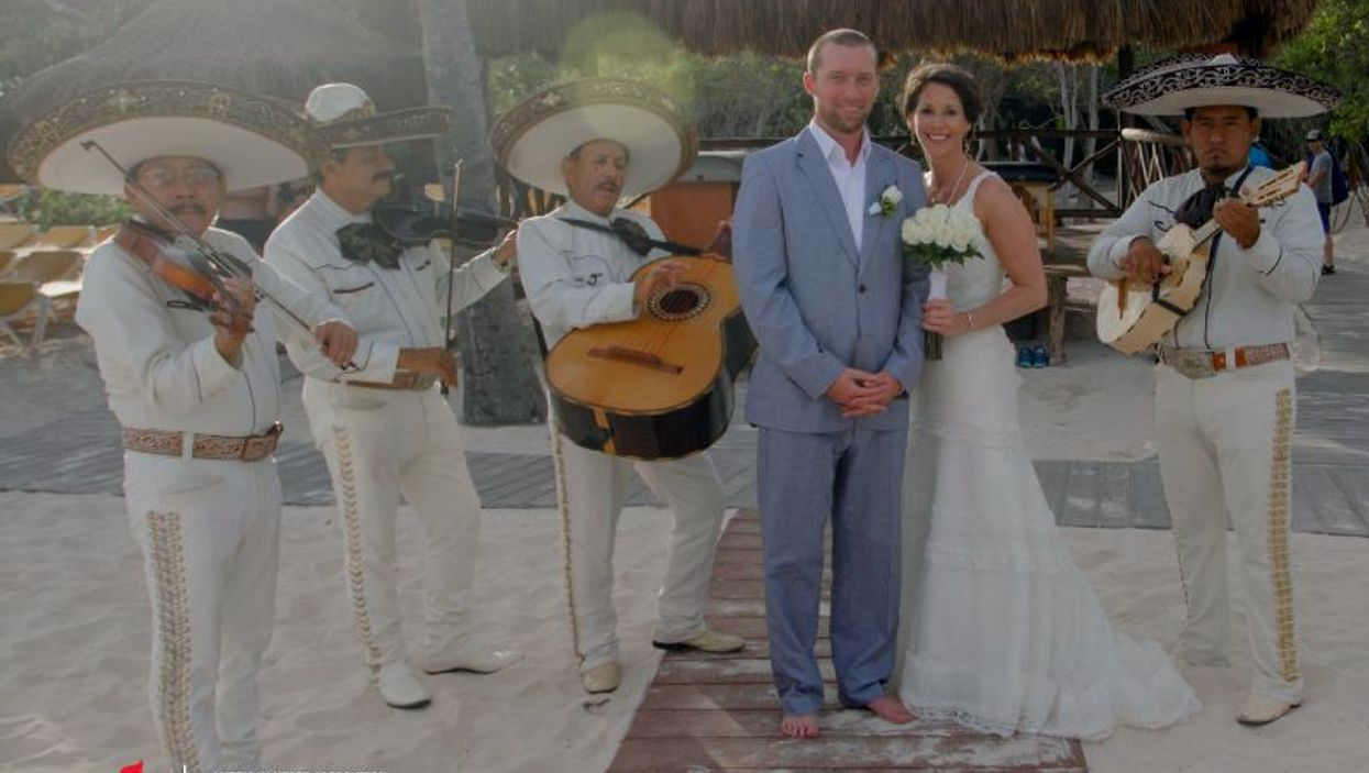 Sara and Court Hoffman on their wedding day in Mexico, only days after her heart attack