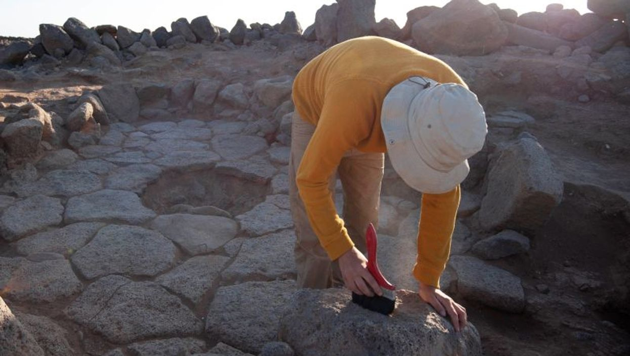 Excavation of ancient, charred  bread remains