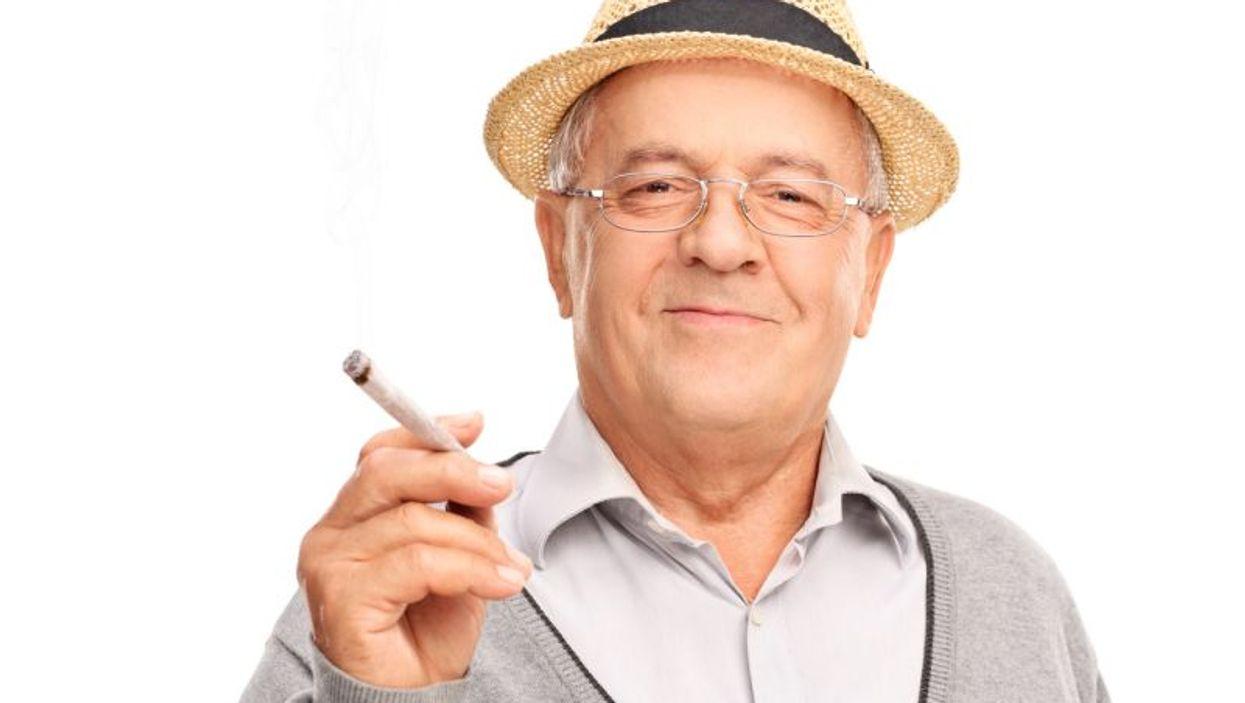Baby boomer smoking marijuana