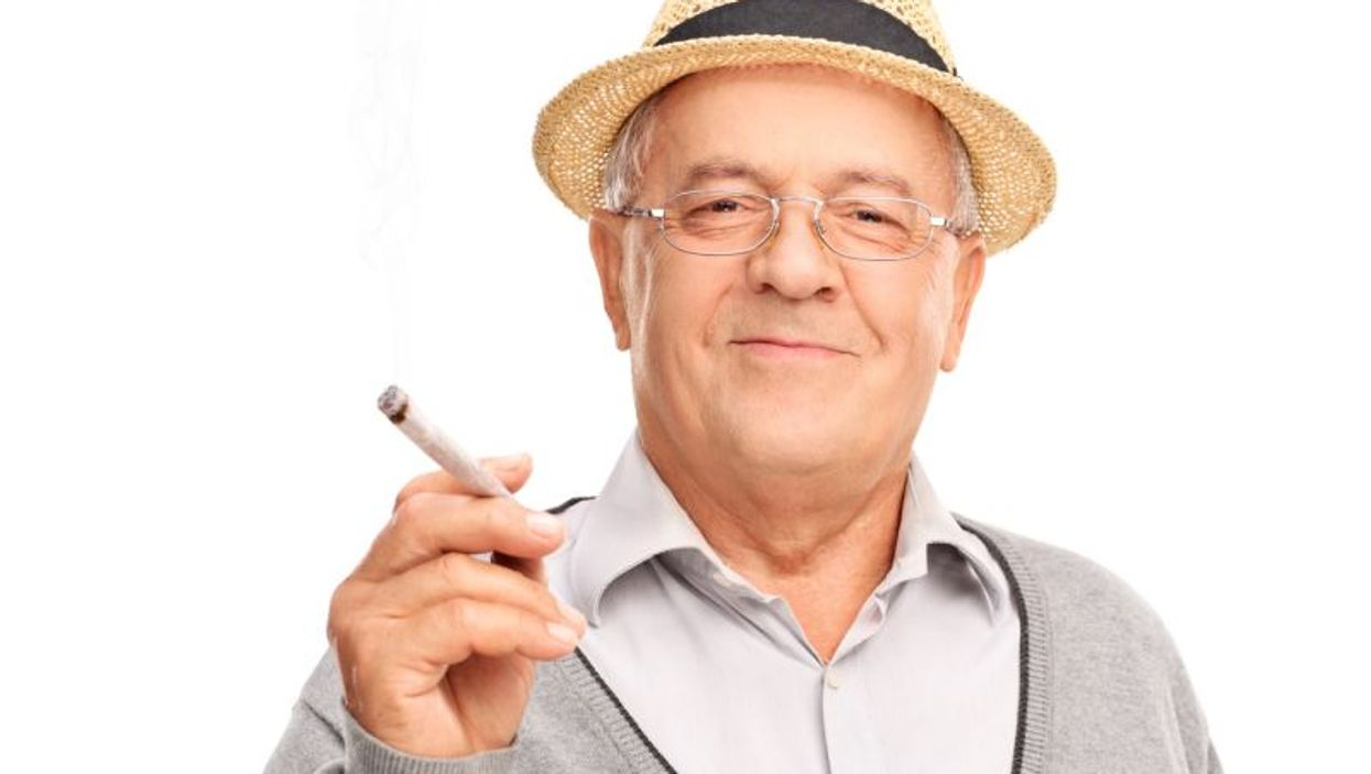 Baby boomer smoking marijuana