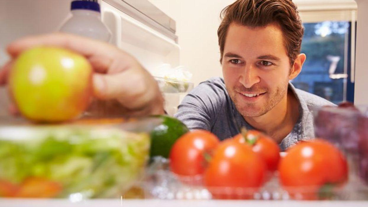 healthy foods inside a refrigerator