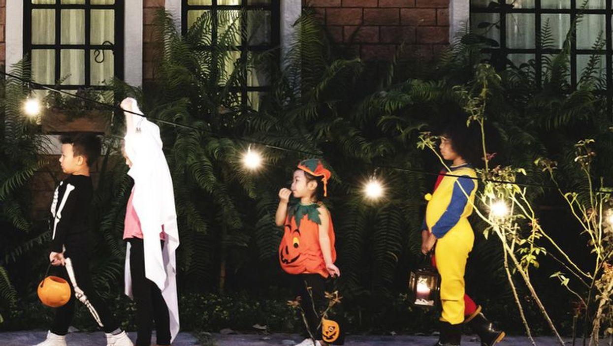 kids in costume on halloween