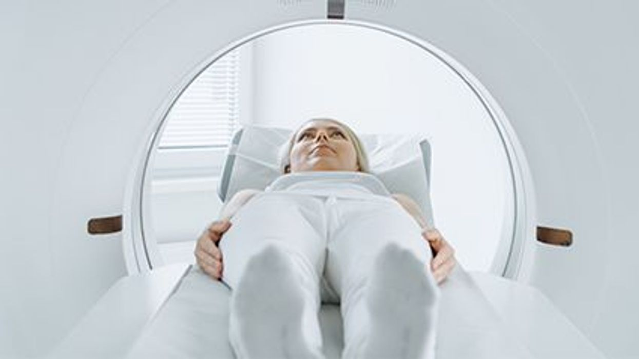 a woman in the MRI scanner