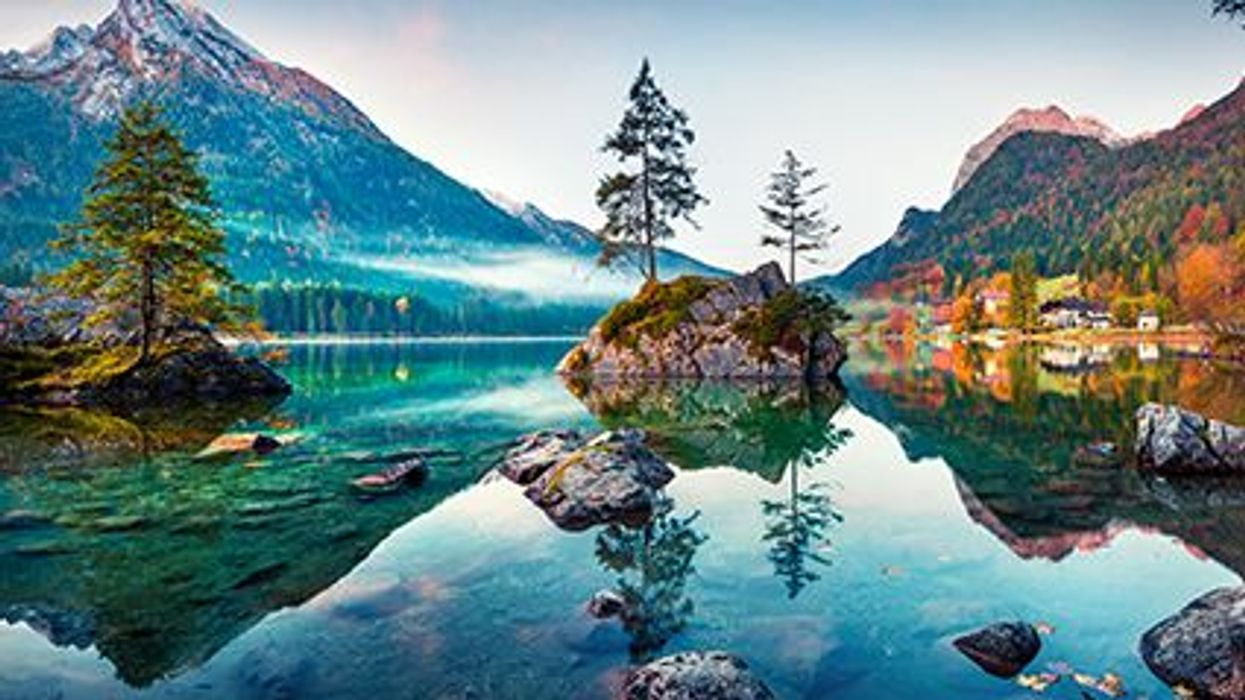beautiful lake area between mountains