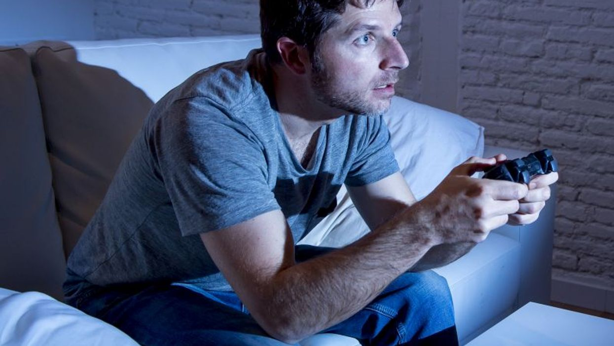 Man playing video games