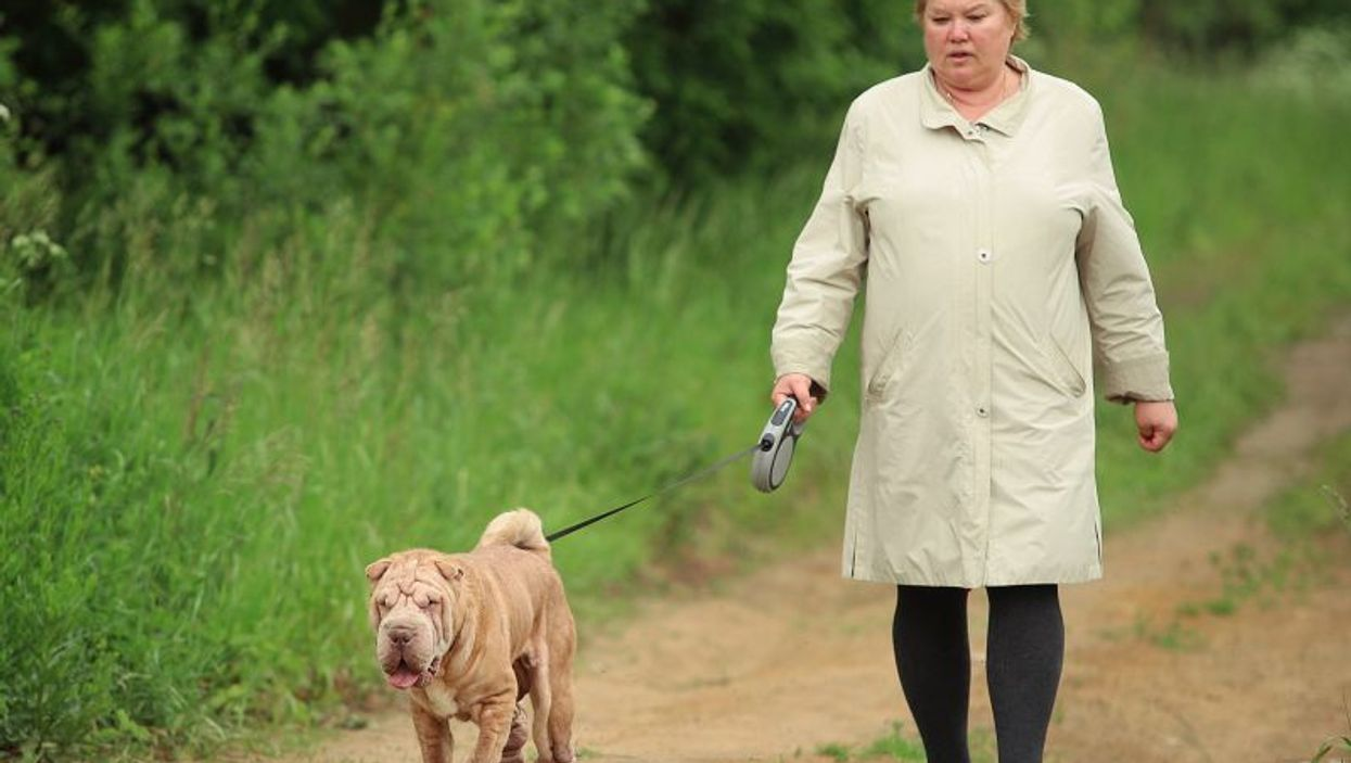 Overweight woman and dog