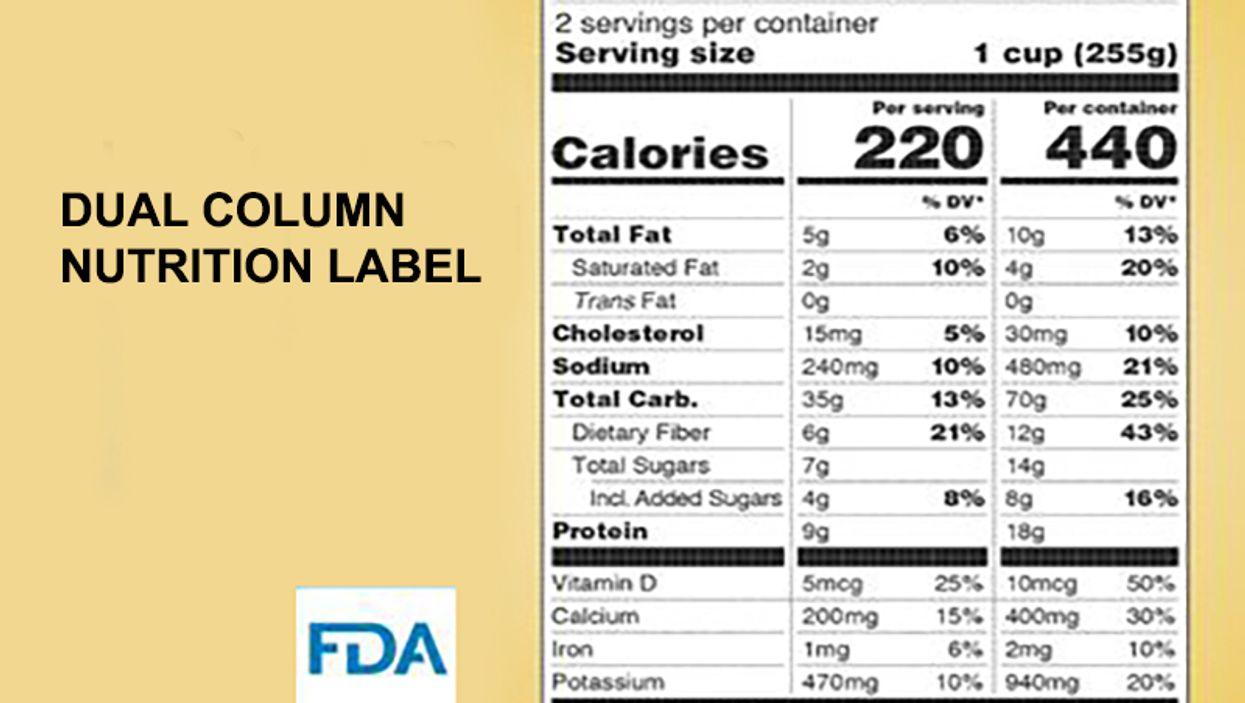 dual column nutrition label