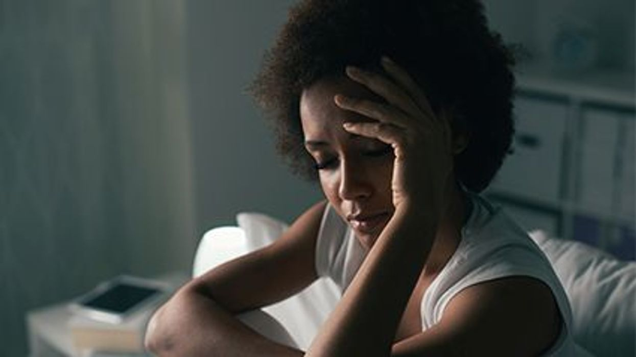 a woman looking stressed