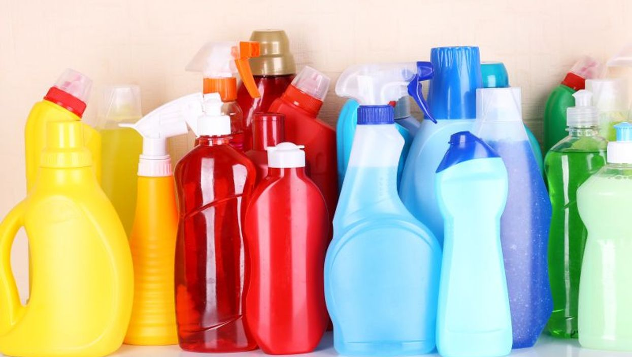 household cleaning products on shelf