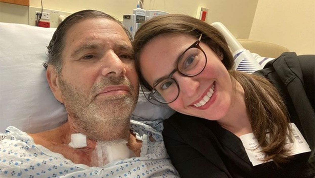 Ron Panzok and his daughter, Amy, after his stay in the ICU