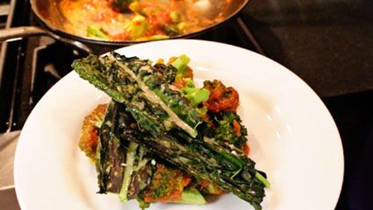 Parmesan Kale With Broccoli Marinara