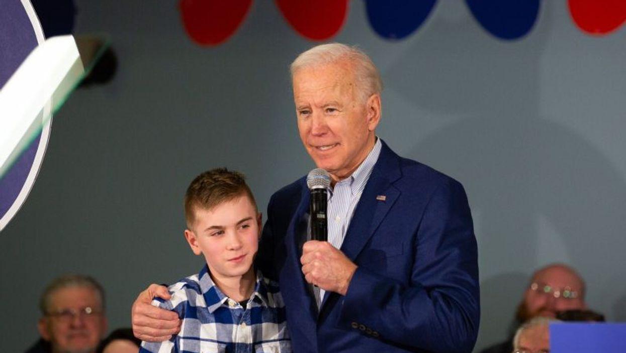 Former Vice President Joe Biden with Brayden Harrington